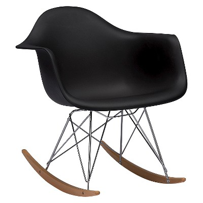 Dario Plastic Mid Century Modern Rocking Chair Black   Baxton Studio :  Target