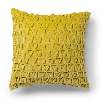 """18""""x18"""" Tricomb Velvet Decorative Throw Pillow Golden Olive - SureFit"""