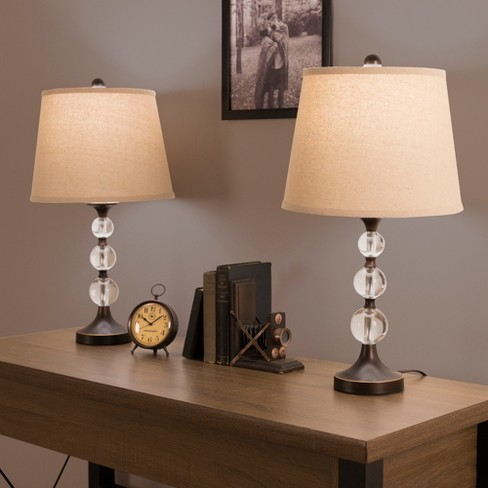 Table Lamps Crystal Balls With Bronze Set Of 2 Includes Energy