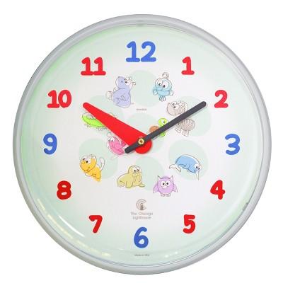 "12.75"" x 1.5"" Cartoon Animals Children's Wall Clock Decorative Wall Clock Light Green - By Chicago Lighthouse"