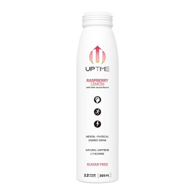 UPTIME Raspberry Lemon Sugar Free Energy Drink - 12 fl oz Bottle