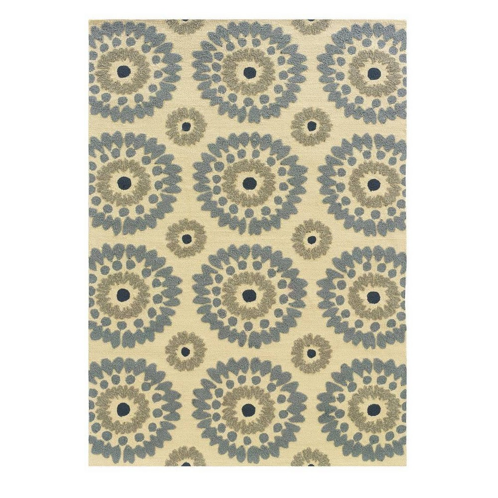 5 39 X 7 39 Le Soleil Outdoor Rug Ivory Blue Linon