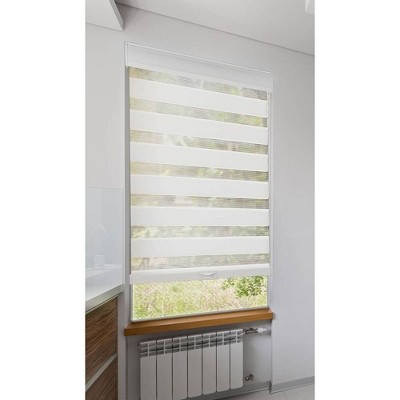 Cord-Free Zebra Blinds Light Filtering White with Fabric Roller Valance - Lumi