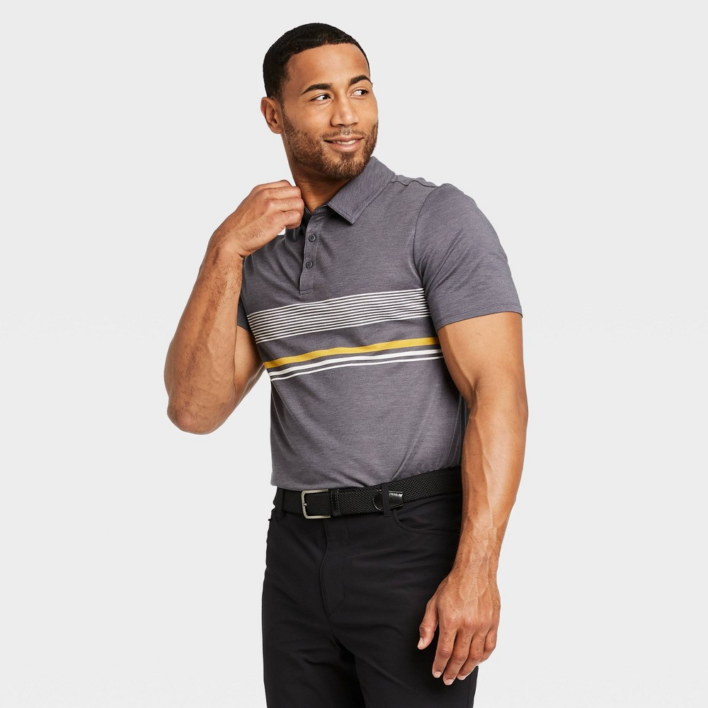 Men's Chest Stripe Golf Polo Shirt - All in Motion Gray Heather S, Gray Grey was $24.0 now $12.0 (50.0% off)