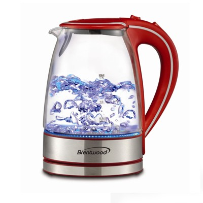 Brentwood 1.7L Tempered Glass Tea Kettle in Black