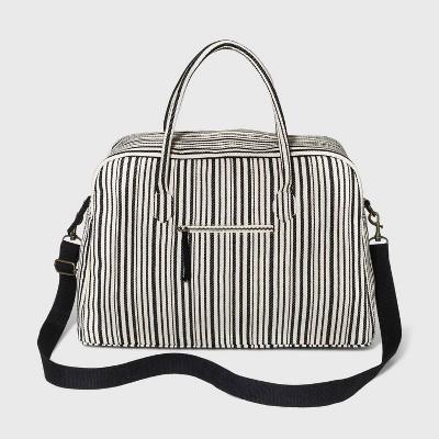 Striped Zip Closure Shoulder Handbag - Universal Thread™ Black/White