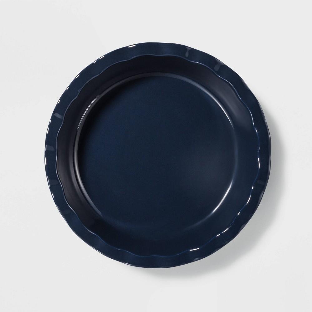 """Image of """"10.4"""""""" Stoneware Round Pie Dish Blue - Threshold"""""""