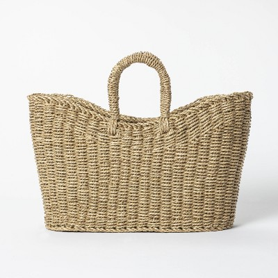 """16"""" x 6"""" x 13"""" Tapered Oval Seagrass Braided Basket Natural - Threshold™ designed with Studio McGee"""