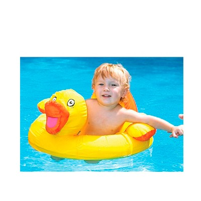 """Swimline 20"""" Ducky Inflatable Children's 1-Person Fabric Covered Swimming Pool Baby Float - Yellow/Orange"""