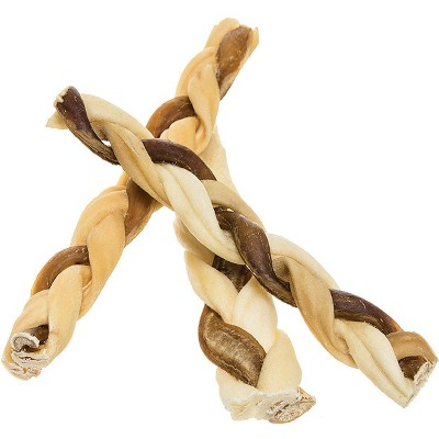 """Pawstruck 7"""" Bully Stick Rawhide Braids for Dogs   Bulk Dog Dental Treats & Chew Bones for Aggressive & Passive Chewers, Beef Best Low Odor Thick Pizzle Stix"""