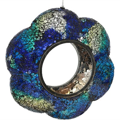 "Sunnydaze Decor Indigo Flower Fly-Through Glass Bird Feeder - Blue - 9"""