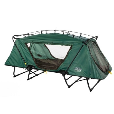Kamp-Rite Oversize Portable Durable Cot, Versatile Design Converts into Cot, Chair, or Tent w/ Easy Setup, Waterproof Rainfly & Carry Bag, Green