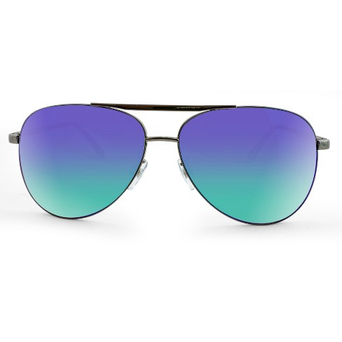 07b5832b36f4c Men s Aviator Sunglasses With Green Mirrored Lenses - Gunmetal   Target
