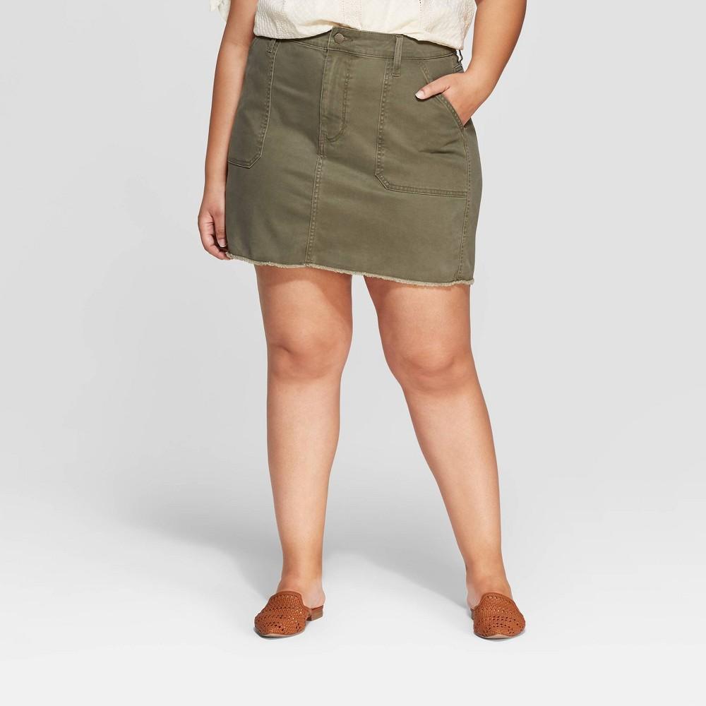 Women's Plus Size Utility Mini Skirt - Universal Thread Olive 24W, Green