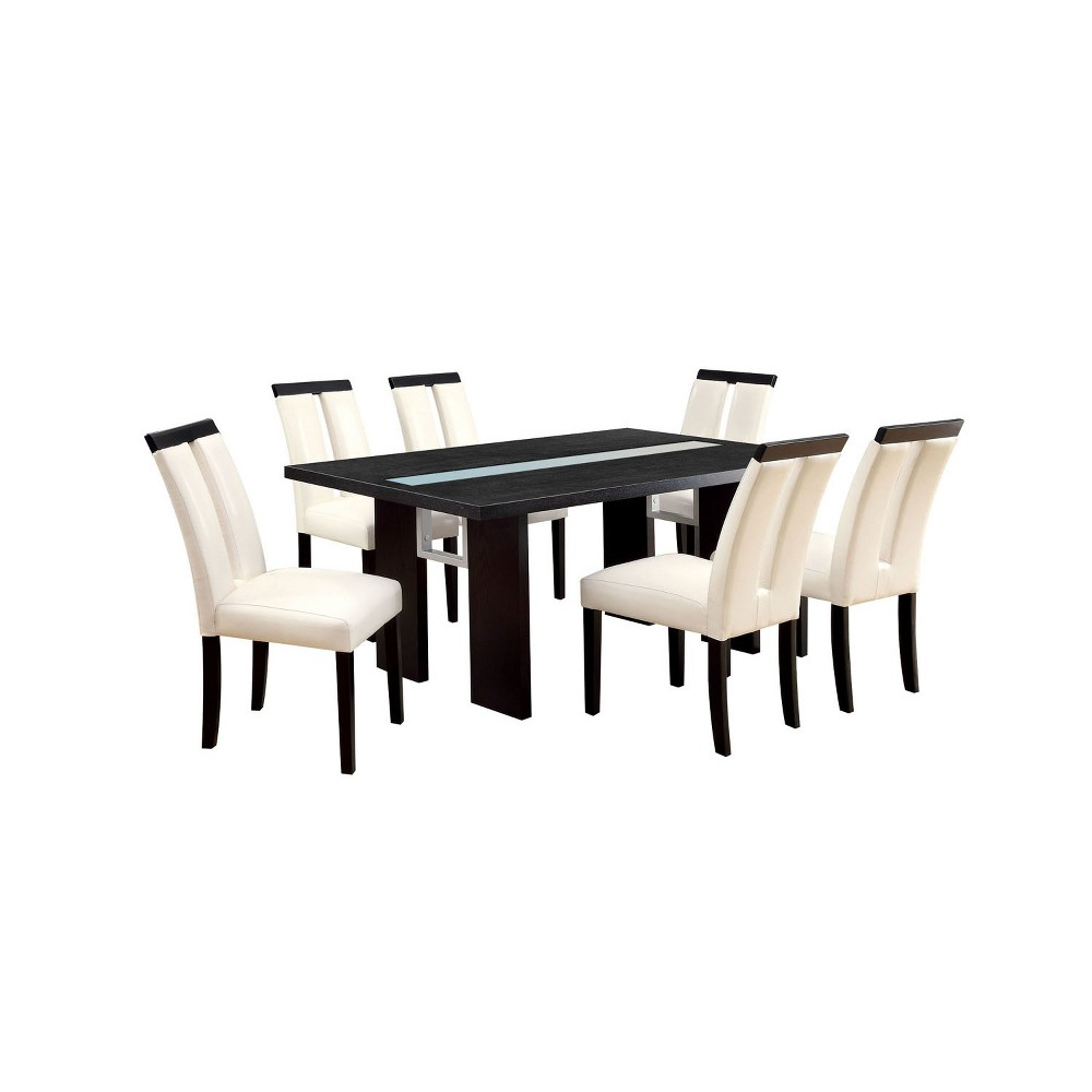 Image of 7pc Stevenson Glass Insert Open Shelf w/Led Lights Dining Table Set Black - ioHOMES