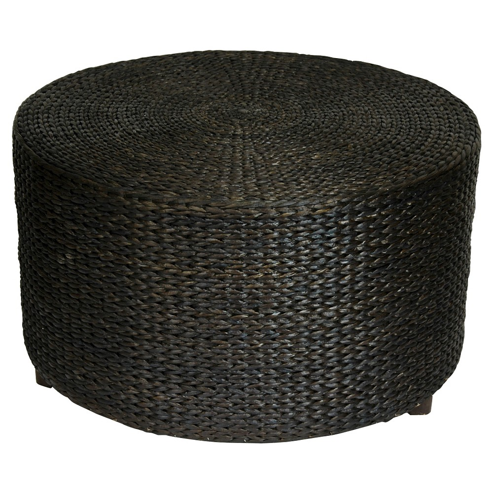 Image of Rush Grass Coffee Table/Ottoman Black - Oriental Furniture