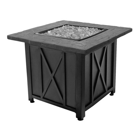 Endless Summer 30 Inch Square 30,000 BTU Liquid Propane Gas Outdoor Fire Pit Table w/Push Button Ignition, White Fire Glass, & Steel Fire Bowl, Bronze - image 1 of 2