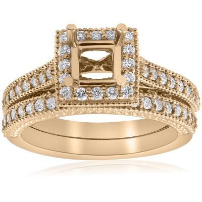 Pompeii3 Yellow Gold Princess Cut Diamond Princess Cut Halo Engagement Ring Semi Mount