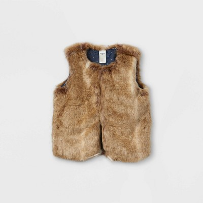 OshKosh B'gosh Toddler Girls' Faux Fur Vest - Brown 2T