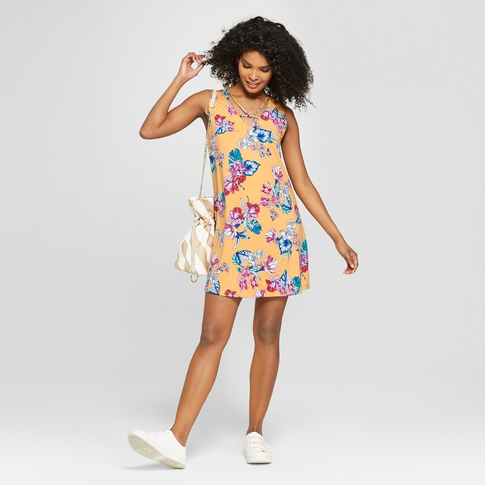 Women's Floral Cross Front Dress - 3Hearts (Juniors') Yellow L, Size: Small, Yellow White was $24.98 now $9.99 (60.0% off)