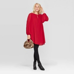 Women's Bishop Long Sleeve Crewneck Pleated Shift Dress - A New Day™ Red
