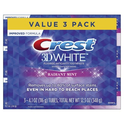 Crest 3D White Whitening Toothpaste, Radiant Mint, 4.1 oz, Pack of 3