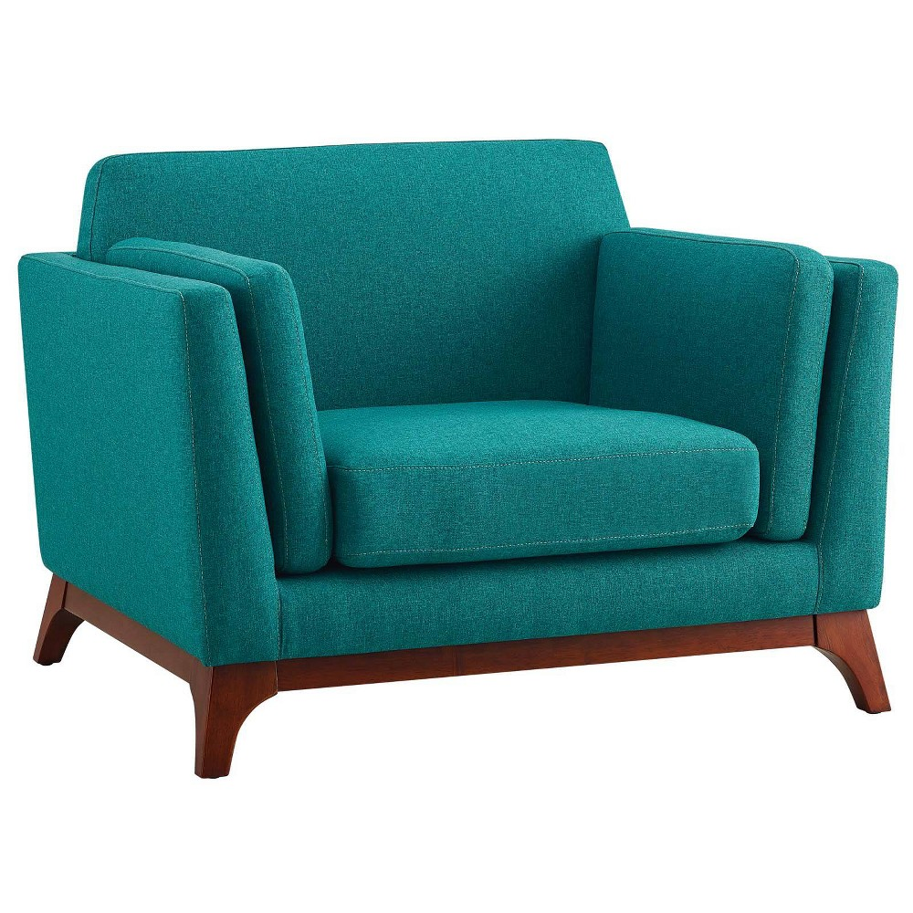 Chance Upholstered Fabric Armchair Teal (Blue) - Modway
