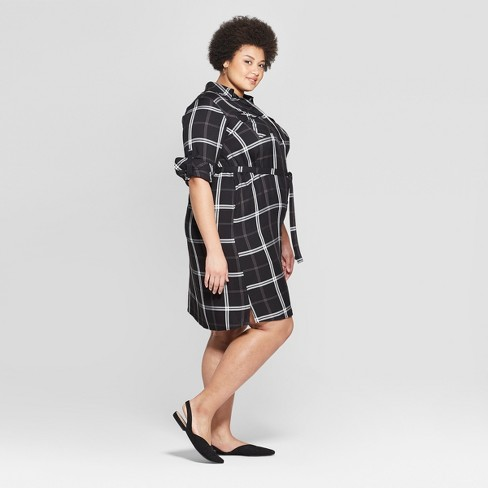c5e79498301 Women s Plus Size Plaid Long Sleeve Collared Shirtdress - Ava   Viv™ Black    Target