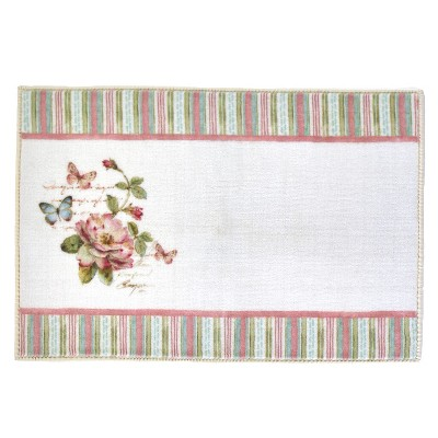 Lakeside Rose Garden Floral Themed Bathroom Rug - Restroom Floor Accent