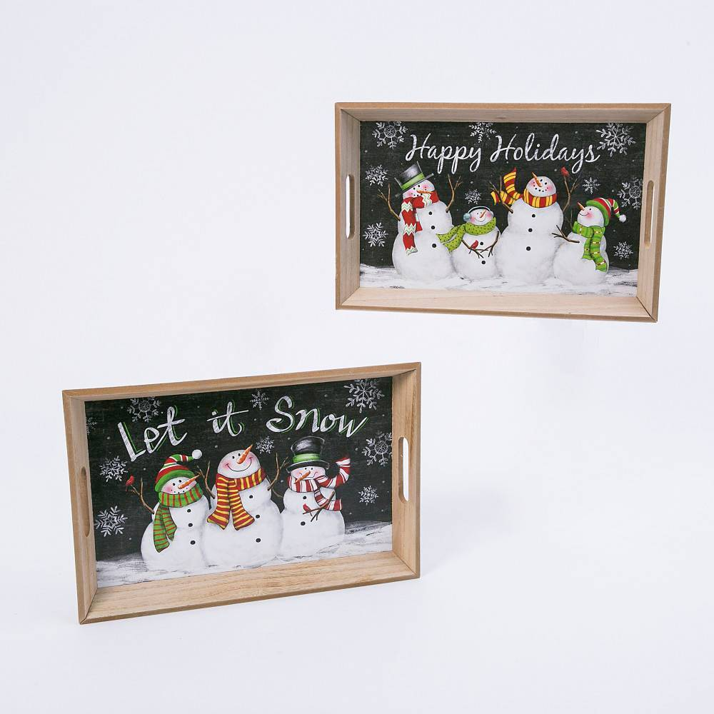 Image of 2ct Nesting Wood Christmas Snowman Trays Decorative Figurine Set - Gerson International