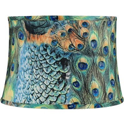 """Springcrest Peacock Print Medium Drum Lamp Shade 14"""" Top x 16"""" Bottom x 11"""" Slant (Spider) Replacement with Harp and Finial"""
