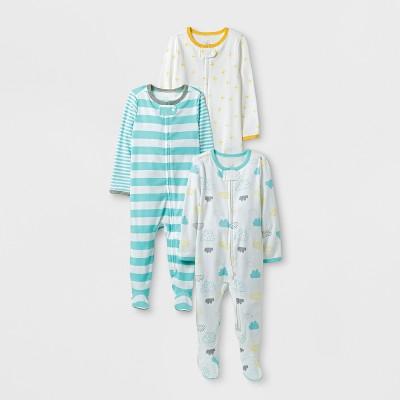 Baby 3pk Sleep N' Play Set Cloud Island™ - Aqua/White 6-9M