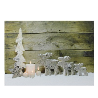 """Northlight LED Lighted Country Rustic Reindeer and Candles Christmas Canvas Wall Art 12"""" x 15.75"""""""