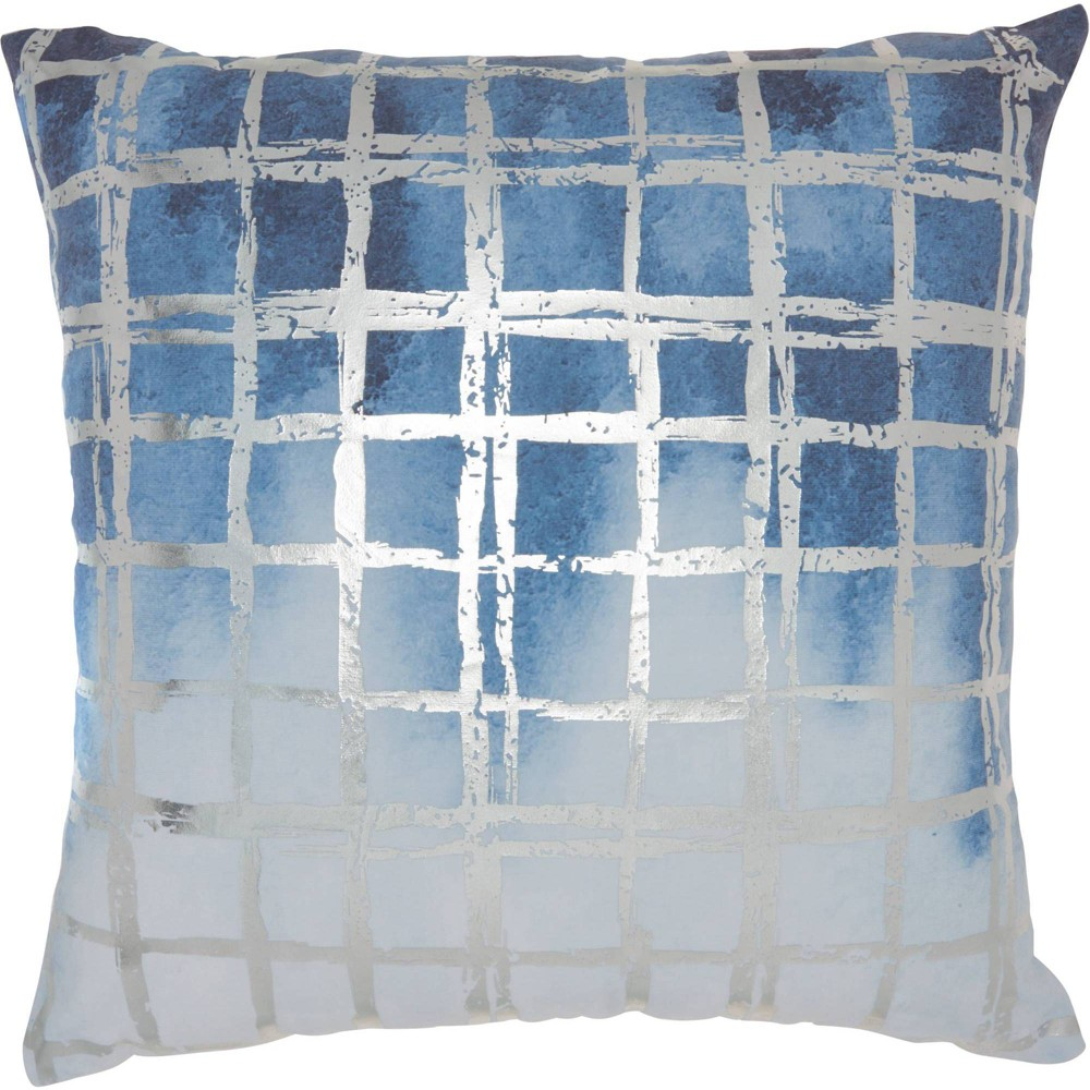 Image of Luminescence Metallic Grid Oversize Square Throw Pillow Blue - Nourison