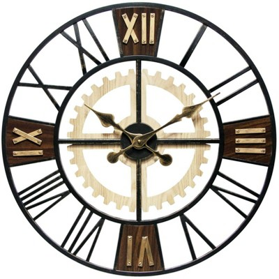 Infinity Instruments 20062 Decorative Traditional Graham Large Oversize 24 Inch Diameter Quartz Battery Powered Wall Clock, with Silent Movement