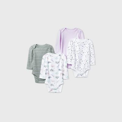 Baby Girls' 4pk Dino Dreams Long Sleeve Bodysuit - Cloud Island™ Pink Newborn
