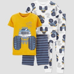 Toddler Boys' 4pc 100% Cotton 'Trucks' Pajama Set - Just One You® made by carter's Orange