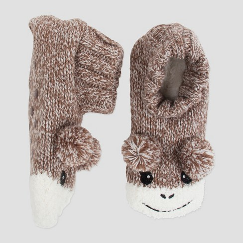 Womens Knit Slipper Socks Monkey Brown One Size Target