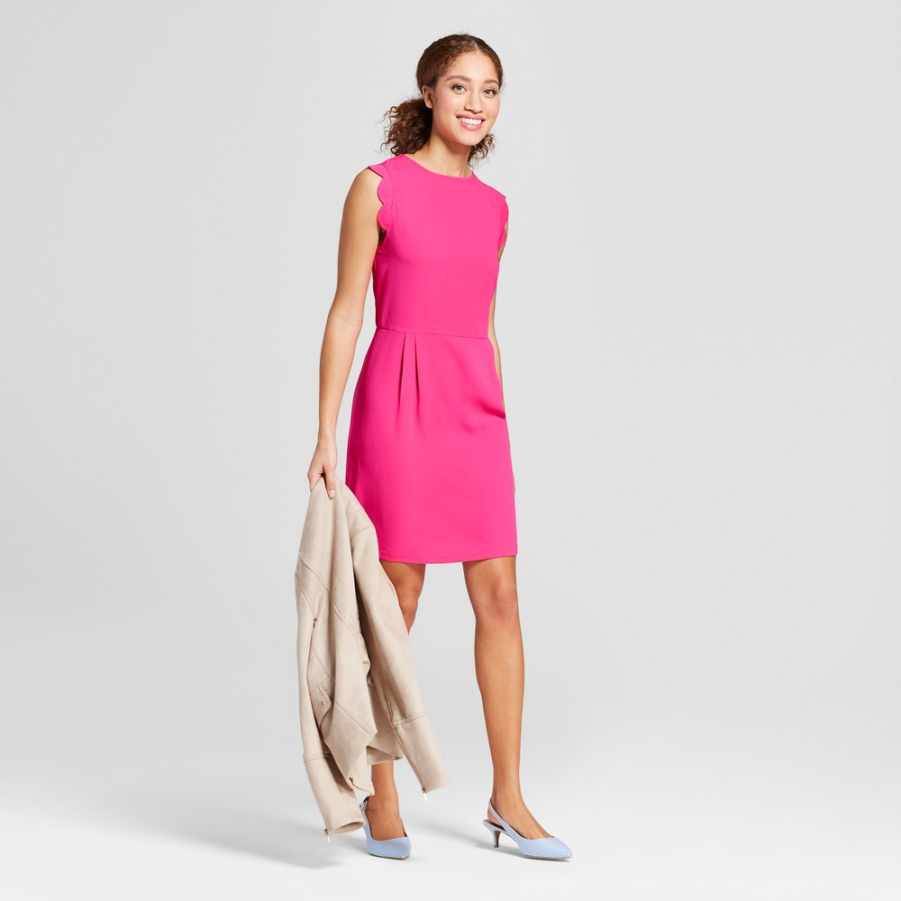 Women's Scallop Sleeve Crepe Dress - A New Day Pink XL