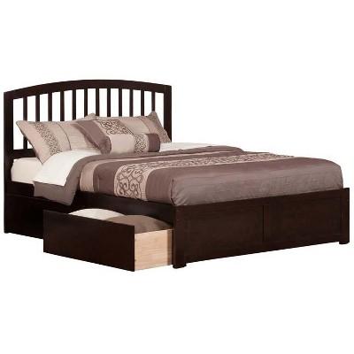 Richmond Queen Flat Panel Foot Board w/ 2 Urban Bed Drawers Espresso - Atlantic Furniture