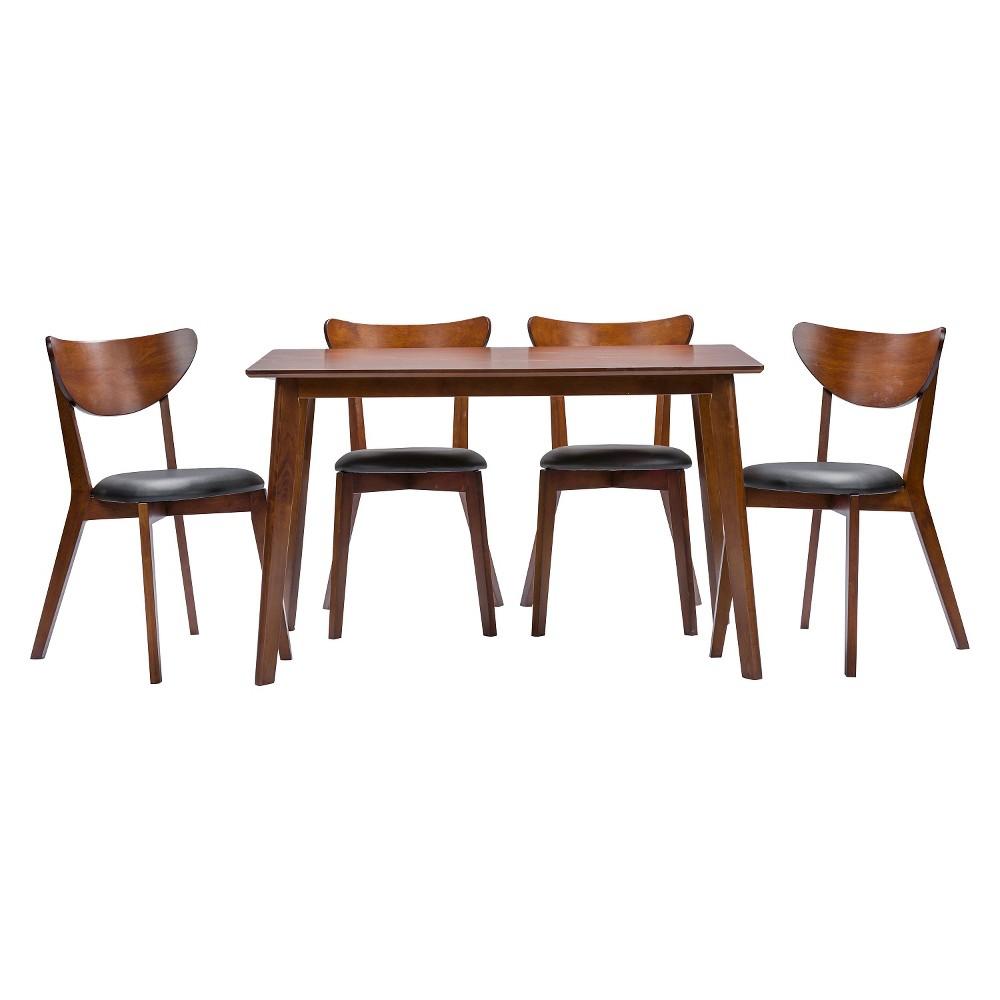 Sumner Mid-Century Style 5 Piece Dining Set - Brown/Black - Baxton Studio