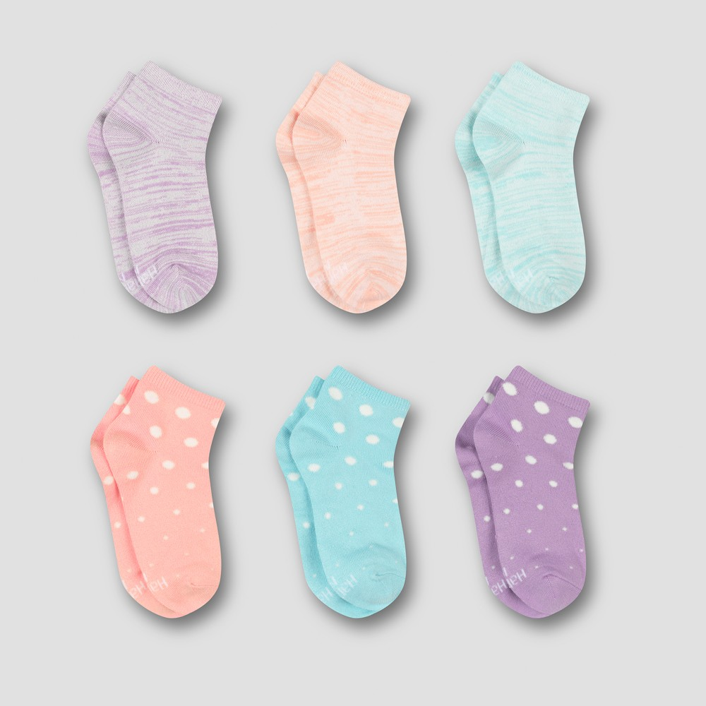 Hanes Premium Girls' 6pk Super Soft Ankle Socks - Colors Vary L, Multicolored