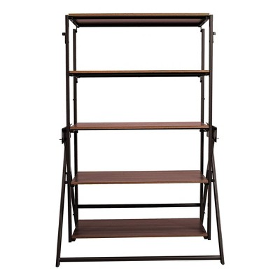 Origami 2 in 1 Multifunctional 52 Inch Tall Wooden Display Storage Shelf To 60 Inch Long Table Desk Unit for Indoor and Outdoor Spaces, Bronze