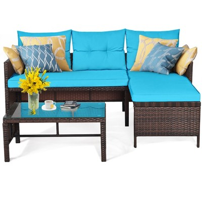 Costway 3PCS Patio Wicker Rattan Sofa Set Outdoor Sectional Conversation Set Turquoise