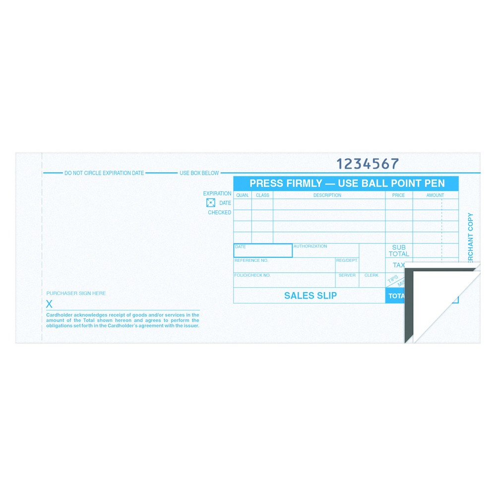 Tops Credit Card Sales Slip, 7 7/8 x 3-1/4, Three-Part Carbonless, 100 Forms, Blue