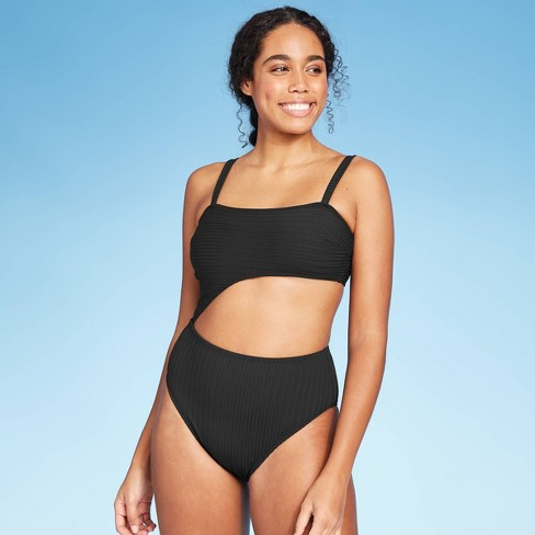 Women's Ribbed Cut Out One Piece Swimsuit - Shade & Shore™ Black - image 1 of 4