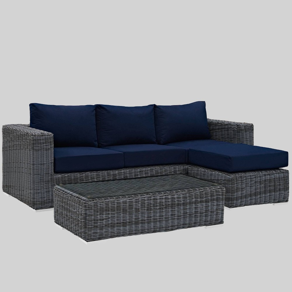 Summon 3pc Outdoor Patio Sectional Set with Sunbrella Fabric - Navy (Blue) - Modway