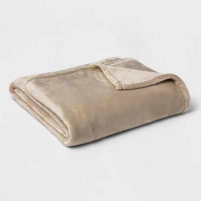 Twin/Twin XL Microplush Bed Blanket Brown Linen - Threshold™