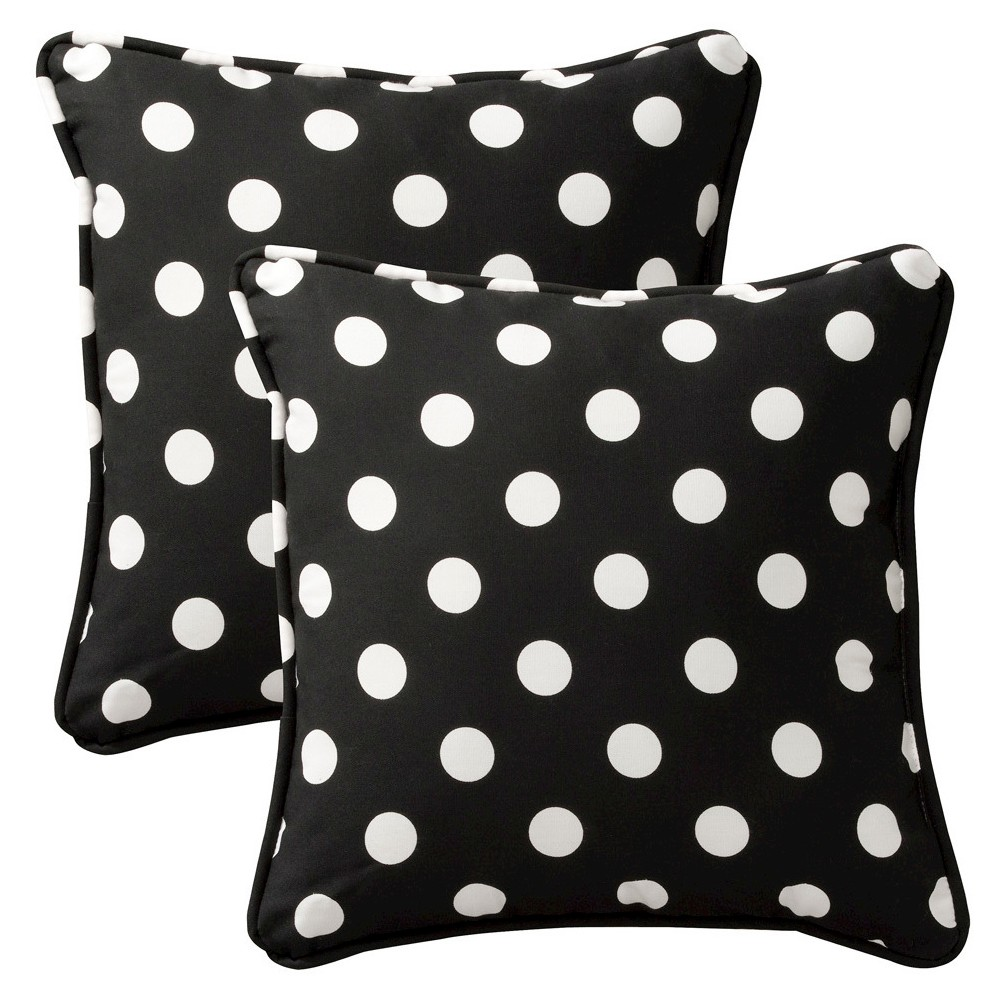 2 Piece Outdoor Toss Pillow Set Black White Polka Dot 18