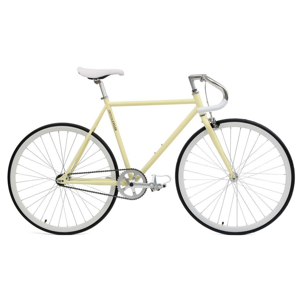Critical Cycles Fixie 27 Fixed Gear Road Bike with Pista Bars - Cream (Ivory)